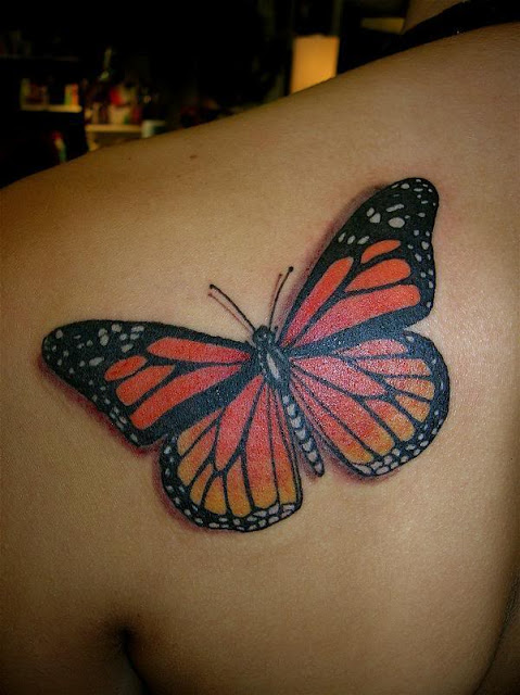 Left Back Shoulder 3D Butterfly Tattoo