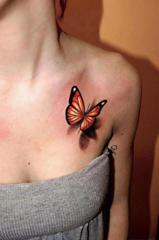 Left Collarbone Tattoo Of 3D Butterfly