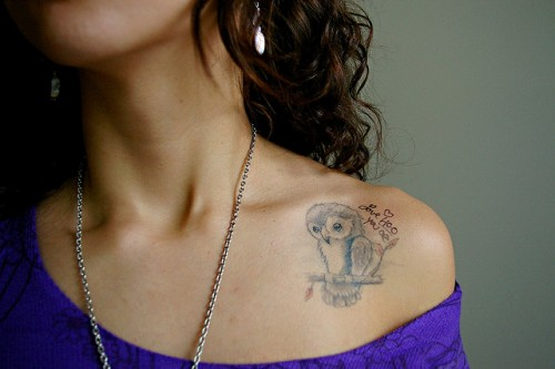 Left Collarbone Tattoo Of Owl