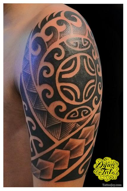 Left Half Sleeve Of Polynesian Tribal Tattoos