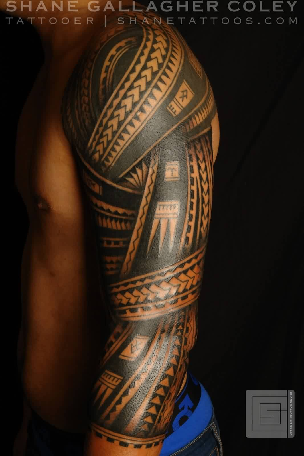 Left Sleeve Of Polynesian Tattoos For Men