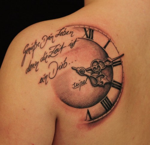 Lettering And Clock Tattoos On Back Shoulder For Women