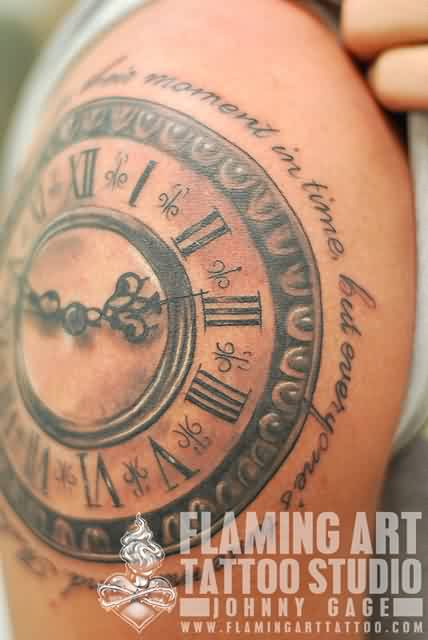 Lettering Around Clock Tattoo