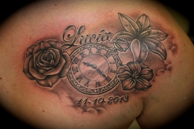 Lettering Clock And Flower Tattoos