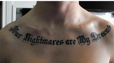 Lettering Tattoo Across Collar Bone