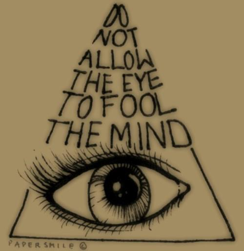 Lettering Triangle And Eye Tattoo Design