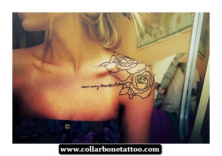 Life Is Beautiful And Rose Tattoos On Left Collarbone