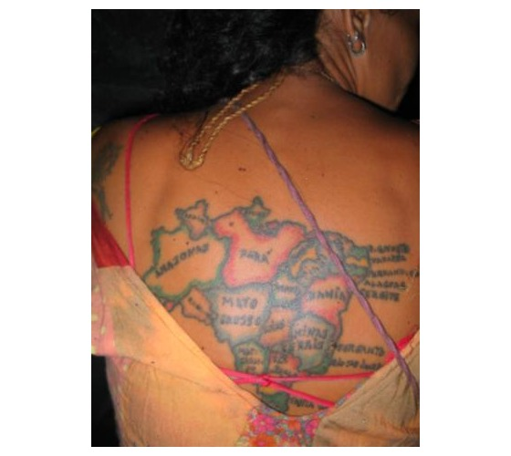 Light Color Map Tattoos On Back For Women