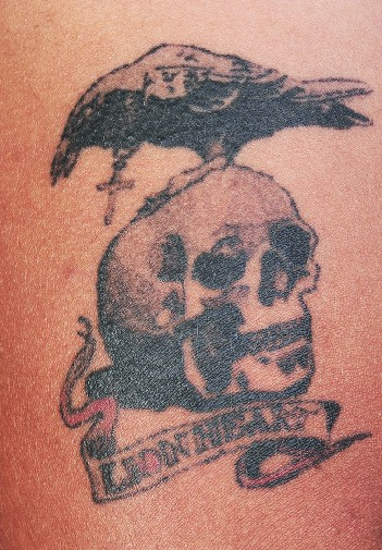 Light Ink Crow Skull Tattoo