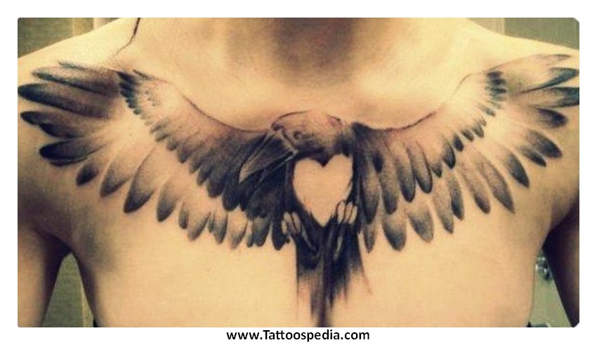Light Ink Heart Crow Tattoo On Chest