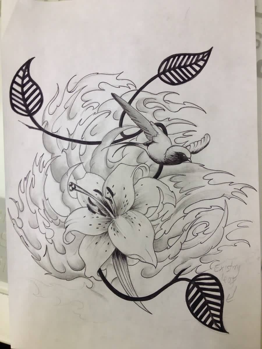 Lily Bird And Japanese Waves Tattoos Sketch