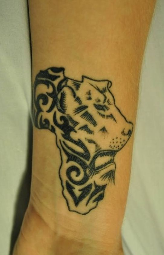 Lion Head African Map Tattoo