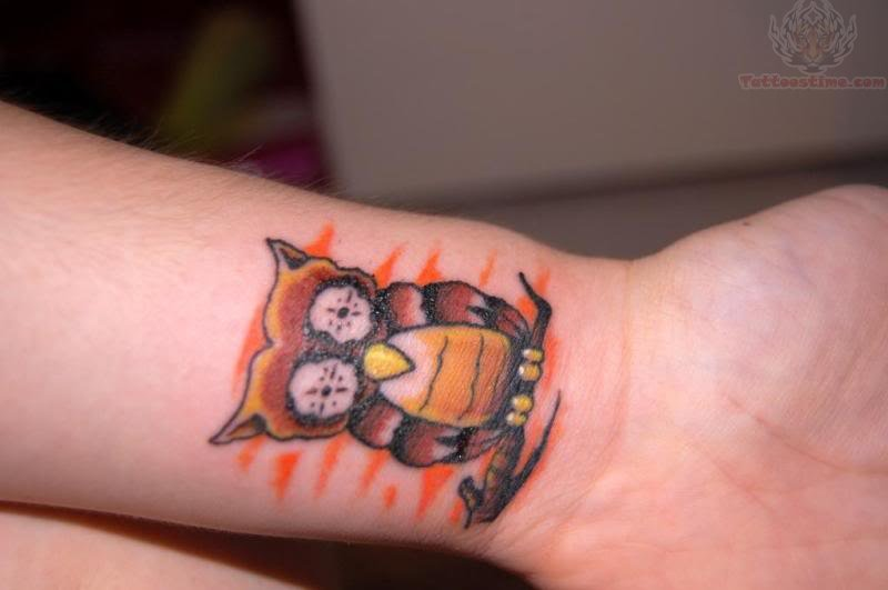 Little Brown Owl On Branch Tattoo On Wrist