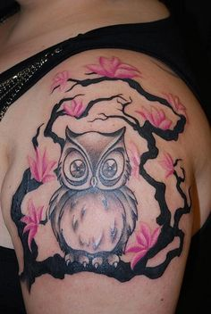 Little Grey Owl On Branch Tattoo