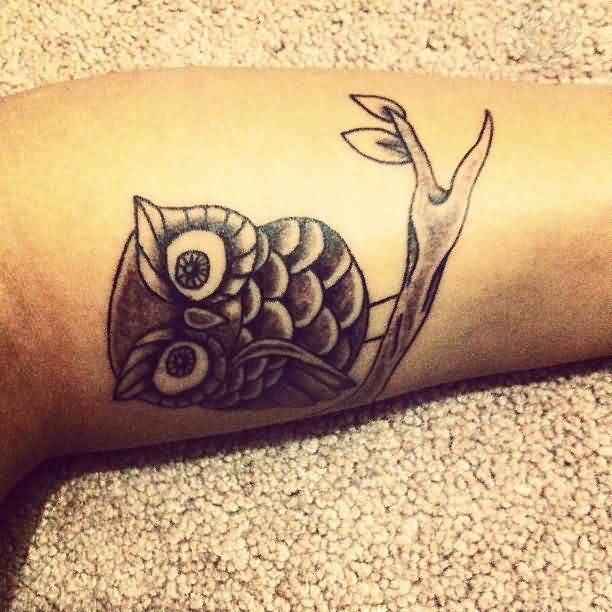 Little Grey Owl Sitting On Branch Tattoo