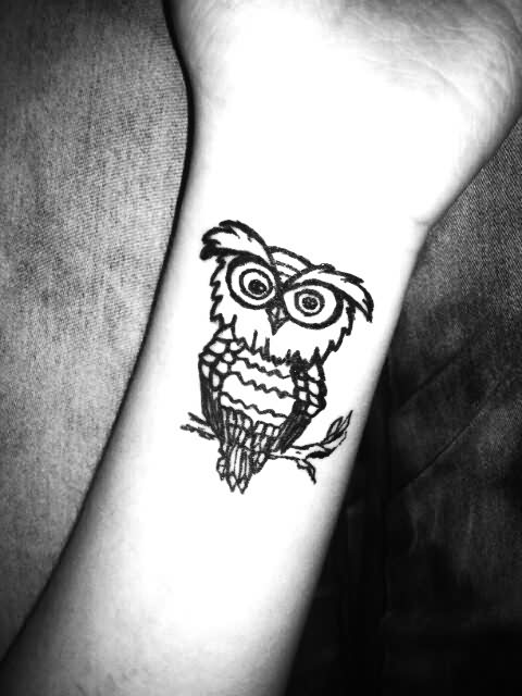 Little Owl On Branch Tattoo
