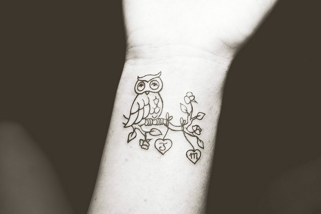 Little Owl Sitting On Branch Tattoo On Wrist