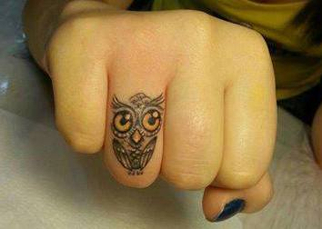 Little Owl Tattoo On Finger