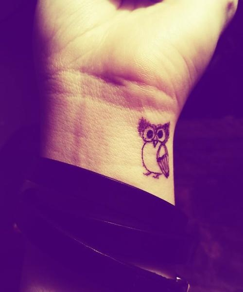 Little Owl Tattoo On Inner Wrist
