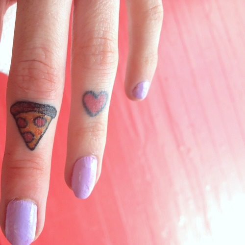 Little Pizza Slice And Heart Tattoos On Fingers