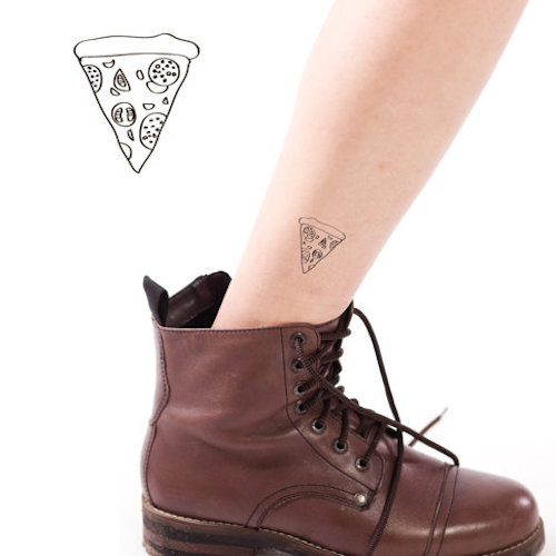 Little Pizza Slice Temp Tattoo On Ankle