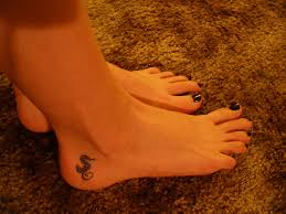 Little Seahorse Tattoo Below Ankle