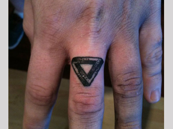 Little Size Triangle Tattoo On Finger