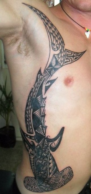 Long Polynesian Shark Tattoo On Chest To Hip