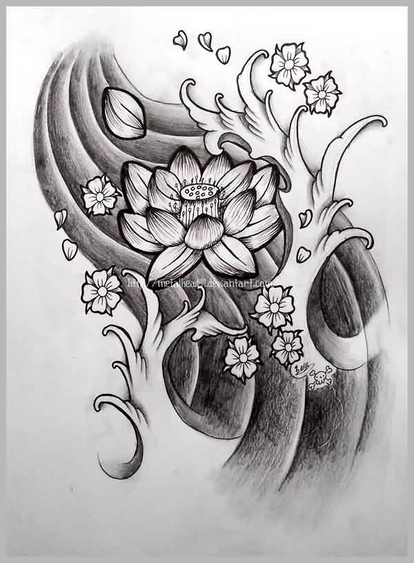 Lotus And Waves Tattoos Sketch