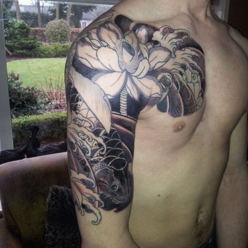 Lotus Koi And Wave Half Sleeve Tattoos