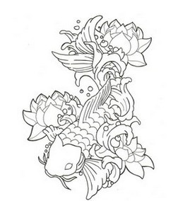 Lotus Koi Fish And Waves Tattoos Sample