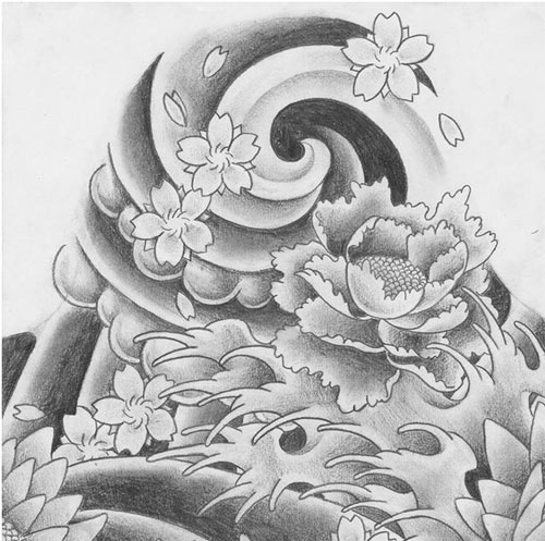 Lotus On Waves Tattoo Drawing