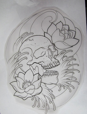 Lotus Skull And Waves Tattoos Sketch