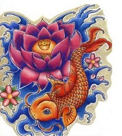 Lotus Waves And Koi Fish Tattoo Designs