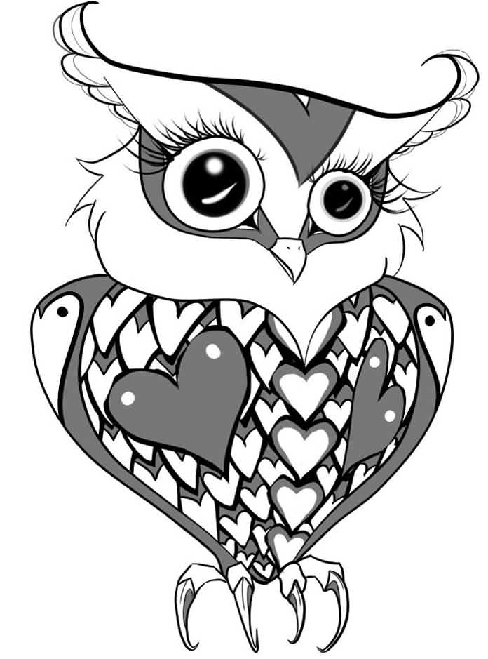 Love Owl Tattoo Design