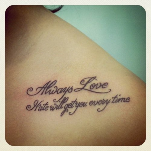 Love Quote Tattoo On Collarbone