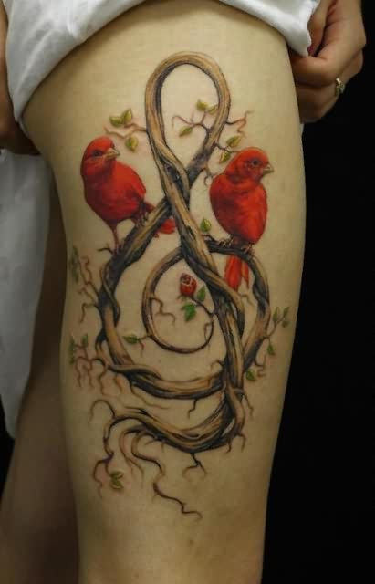 Lovely 3D Birds Sitting On Music Branch Tattoo On Thigh