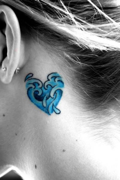 Lovely Blue Sea Waves Heart Tattoo On Neck