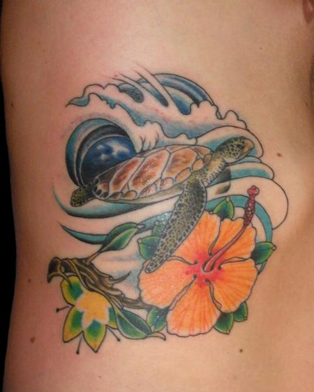Lovely Blue Waves Turtle And Flower Tattoos