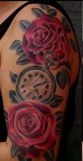 Lovely Clock With Rose Tattoos For Half Sleeve