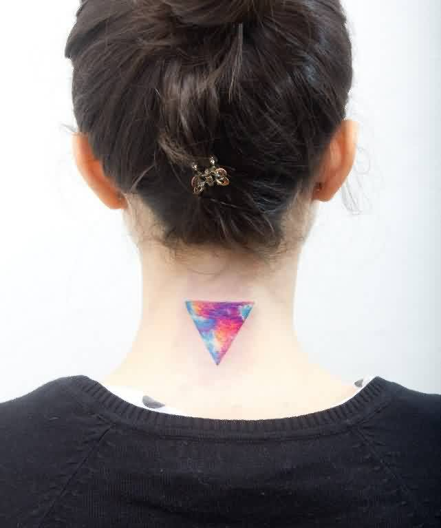 Lovely Colorful Triangle Tattoo On Back Neck