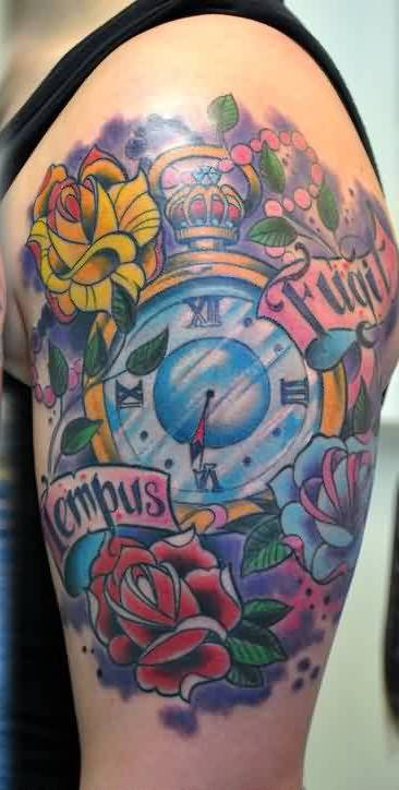 Lovely Feminine Clock With Flower Tattoos On Shoulder