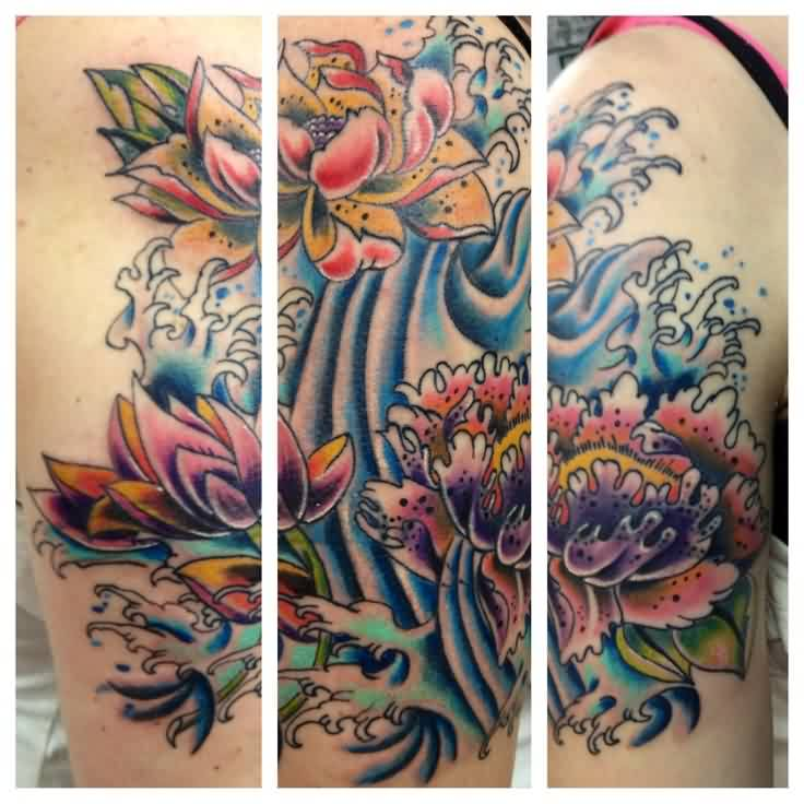 Lovely Flowers And Blue Wave Tattoos On Sleeve
