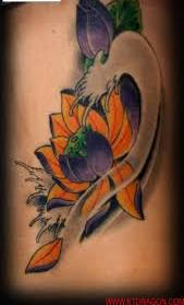 Lovely Lotus And Wave Tattoos