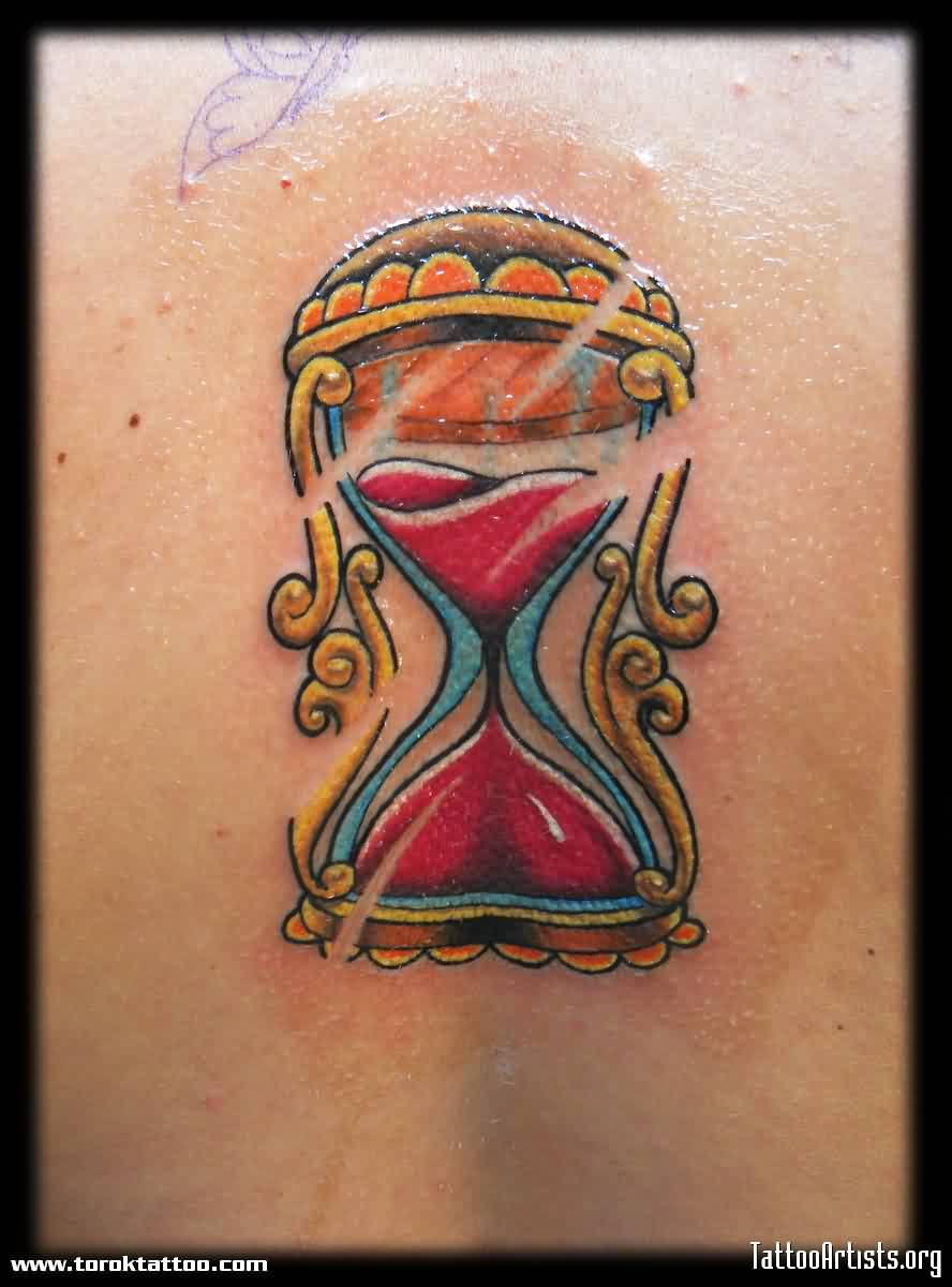 Lovely Old School Clock Tattoo