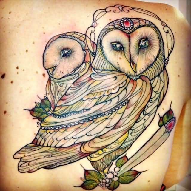 Lovely Owl Couple Tattoos On Right Shoulder Blade