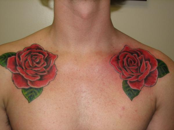 Lovely Red Rose Tattoos On Collarbones