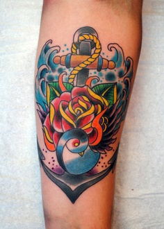 Lovely Rose Anchor And Blue Waves Tattoos