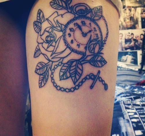 Lovely Rose With Clock Tattoos On Thigh For Girls