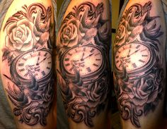 Lovely Roses And Clock Tattoos